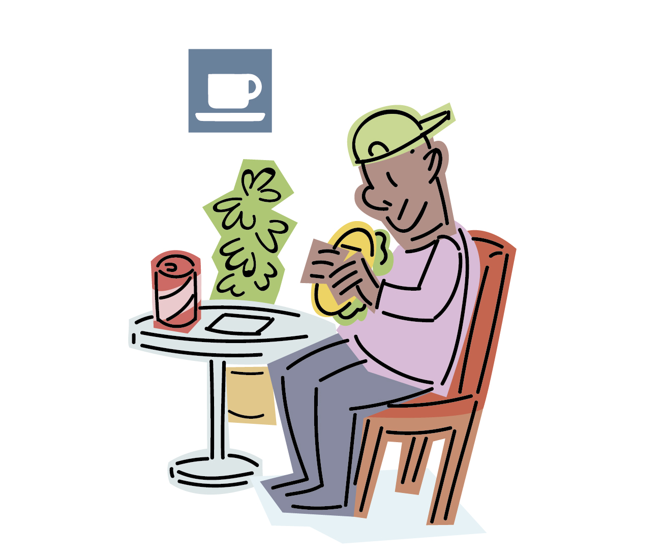 Una persona come un sándwich en una mesa, al lado de un pictograma que indica que es una cafetería.