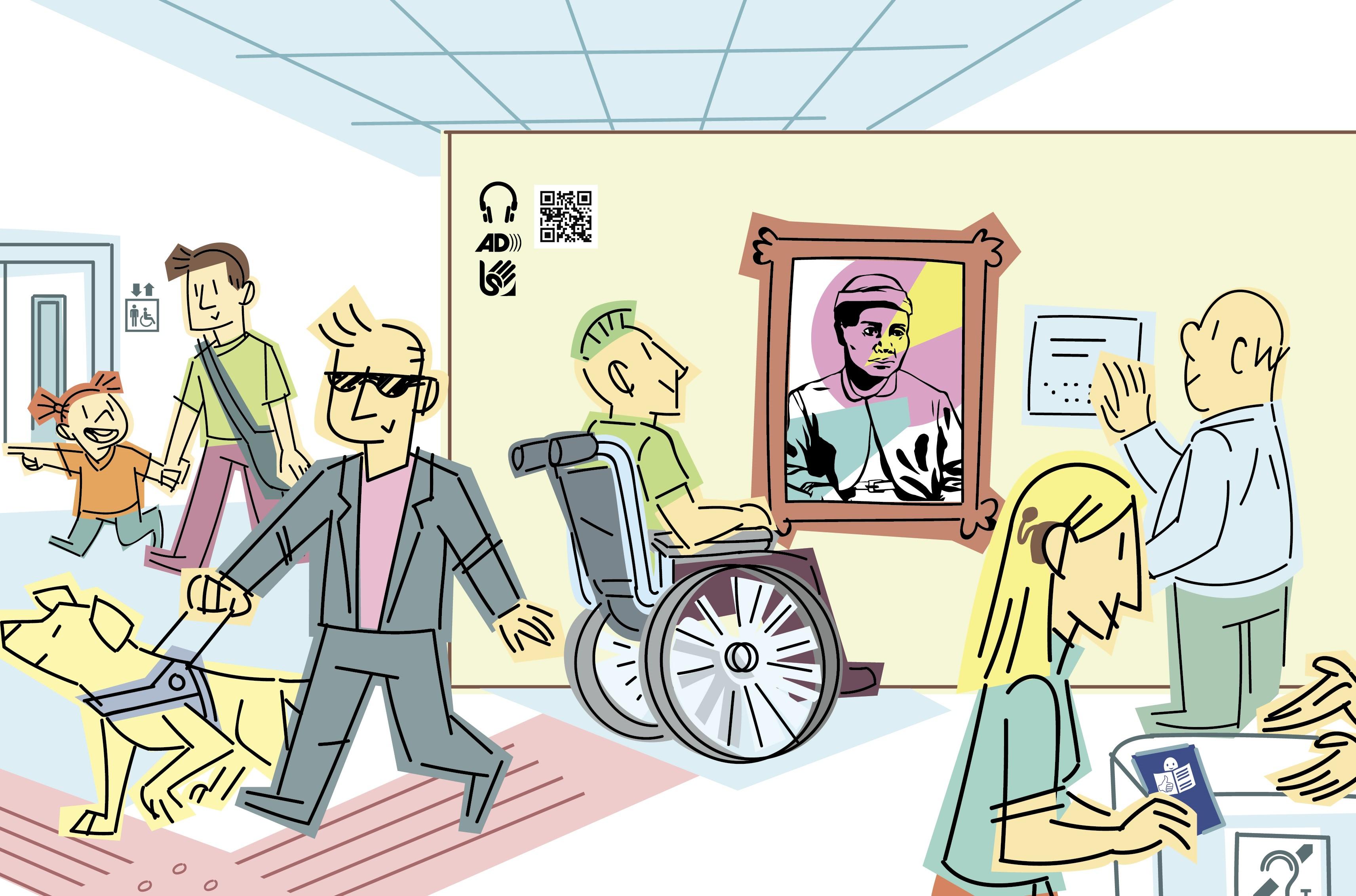 Ilustración de un museo con personas diversas y varias medidas de accesibilidad.