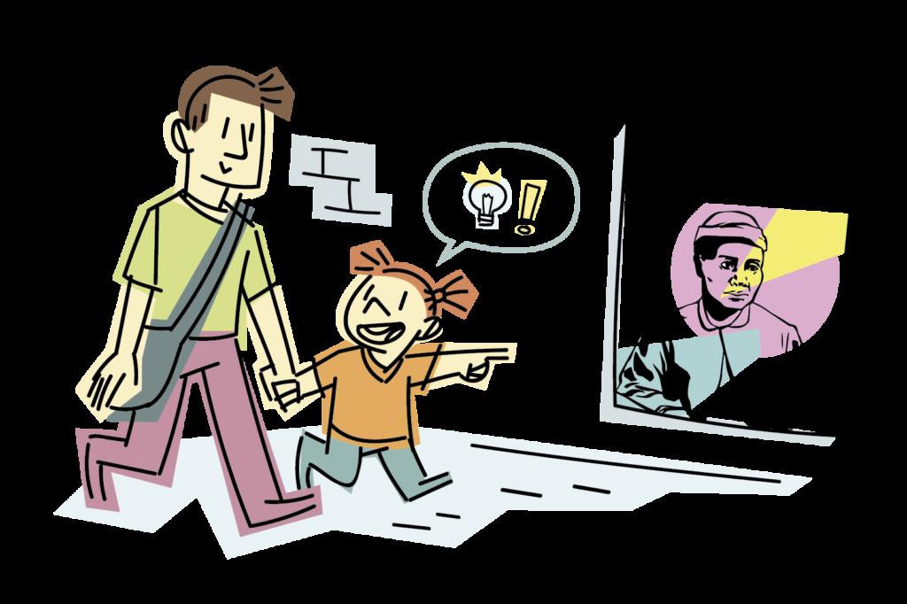Un padre y una niña va paseando, la niña señala un cartel donde se anuncia una exposición.