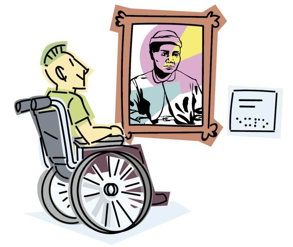 ersona en silla de ruedas observando un cuadro que tiene una cartela en braille