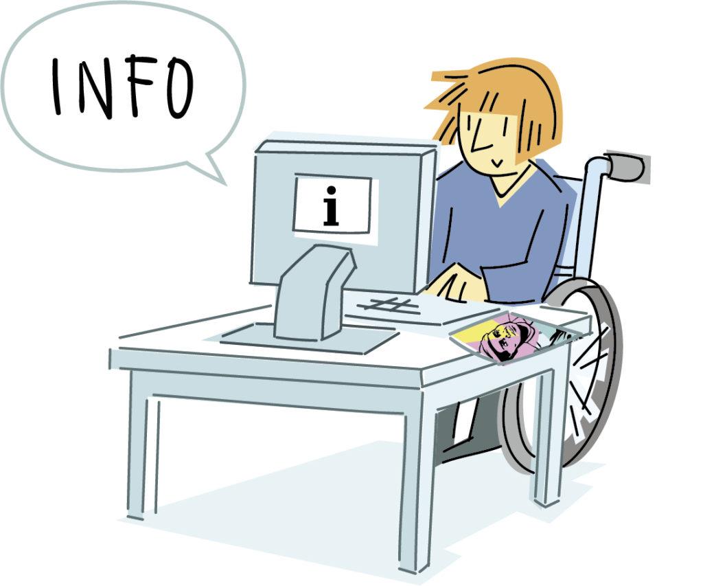 Una persona en silla de ruedas frente a un ordenador buscando información.
