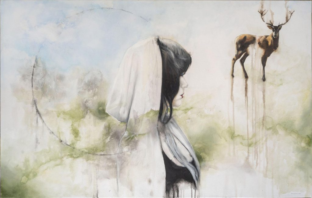 Obra de arte con 3 elementos principales, un círculo, una mujer y un ciervo. Descripción completa en el blog.